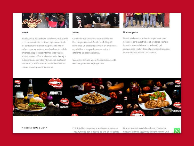 Imagen de la página web de El Antojo - Nosotros