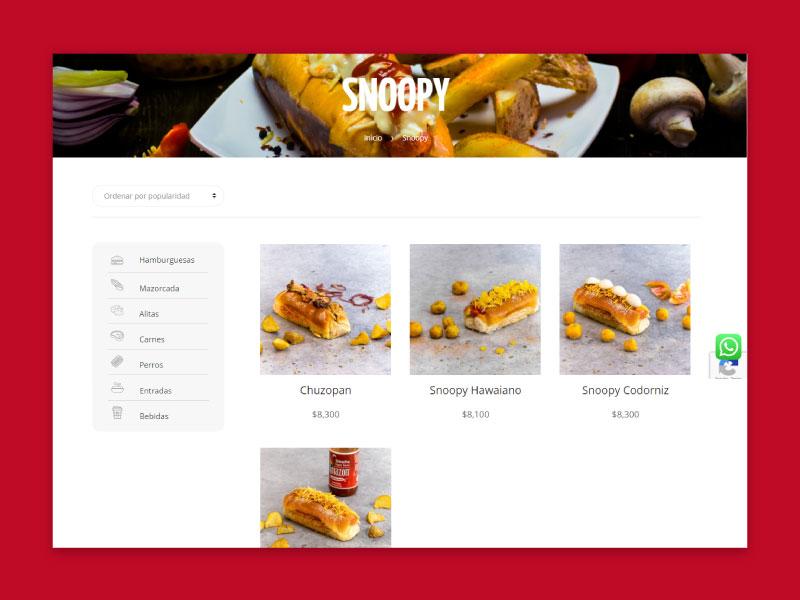 Imagen de la página web de El Antojo - Productos