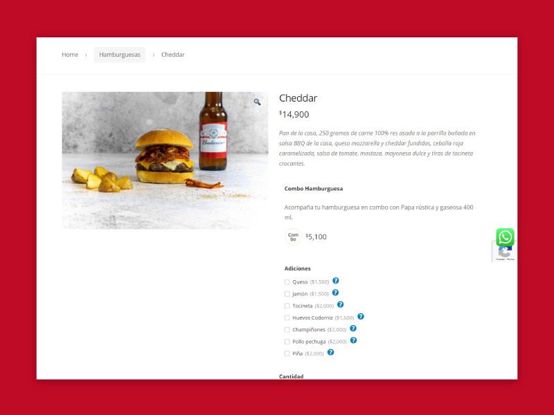 Imagen de la página web de El Antojo - Producto