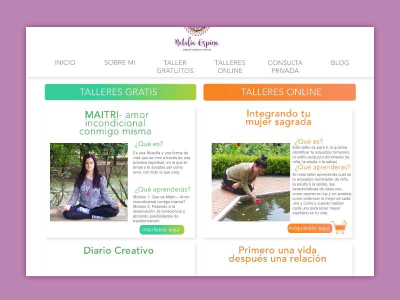 Imagen del home talleres la página web Maestría para el alma